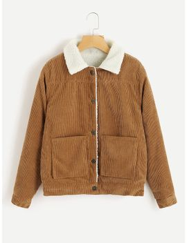 ribbed-corduroy-shearling-jacket by sheinside