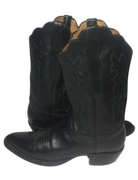 black-leather-western-cowboy-cowgirl-womens-boots_booties by lucchese