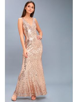 canterbury-rose-gold-sequin-maxi-dress by lulus