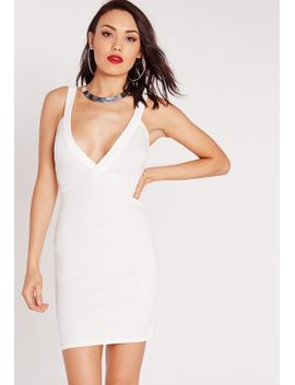ponte-plunge-bodycon-dress-white by missguided