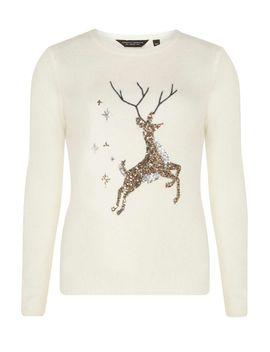 cream-sequin-reindeer-christmas-jumper by dorothy-perkins