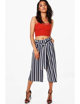 petite-tie-waist-wide-leg-striped-culottes by boohoo