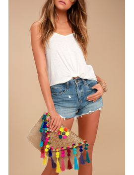 beneath-the-canopy-tan-woven-pompom-clutch by lulus