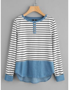 buttoned-front-mixed-media-striped-tee by sheinside