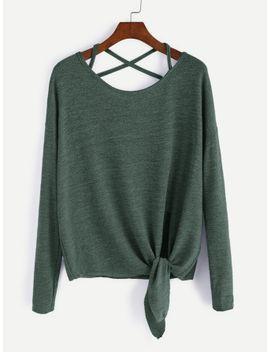 drop-shoulder-criss-cross-tie-front-t-shirt by sheinside