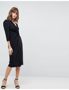 asos-wrap-front-midi-dress by asos-collection