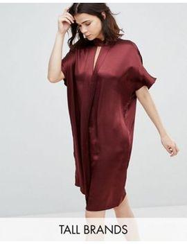 yas-tall-satin-key-hole-detail-high-neck-shift-dress by yas-tall