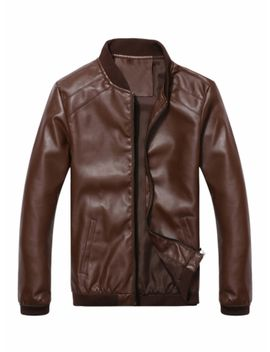 Zhuowolves Men's Synthetic Leather Jacket Solid Color Stand Collar Long Sleeve Pocket Decor Jacket by Jollychic