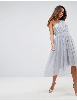 ASOS PREMIUM Crystal Bodice Tulle One Shoulder Midi Prom Dress