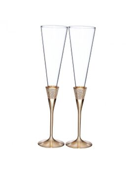 Lismore Diamond Gold Toasting Flute, Pair by Waterford