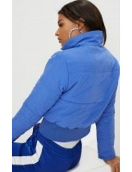 Cobalt Peach Skin Cropped Puffer Jacket Pretty Little Thing
