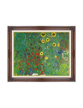ACCENTSART. FRAMED FARM GARDEN WITH SUNFLOWERS GUSTAV KLIMT ...