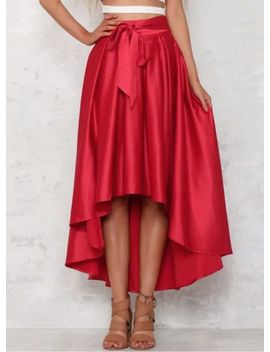 Elegant High Low Hem Solid Swing Skirt by Oasap