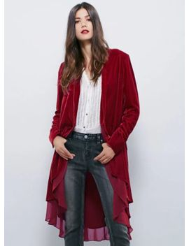 Solid Color Long Sleeve Open Front Velvet Trench Coat by Oasap