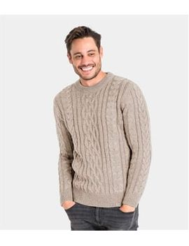 Mens Pure Wool Aran Knitted Sweater by Wool Overs