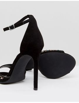 Star Stud Suedette Heeled Sandal - Black New Look