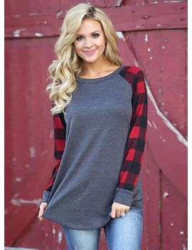 "<Span Itemprop=""Name"" Content=""Round Neck Plaid Sleeve Pullover Tee Shirt"">Round Neck Plaid Sleeve Pullover Tee Shirt</Span> by Oasap"