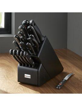 wüsthof--gourmet-18-piece-black-knife-block-set by crate&barrel