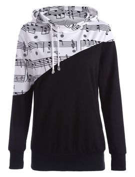 Music Note Two Tone Hoodie by Dress Lily