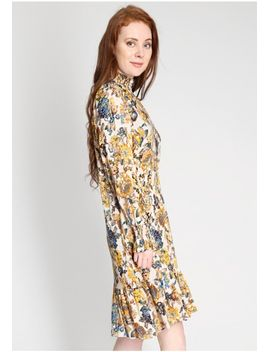 Elegance High Collar Floral Midi Dress by Ruche