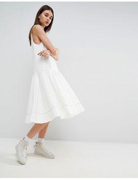 A-Line Midi Dress With Contrast Stitch V-Neck - White Asos