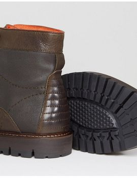 River Island Leather Lace Up Worker Boots In Khaki And Brown