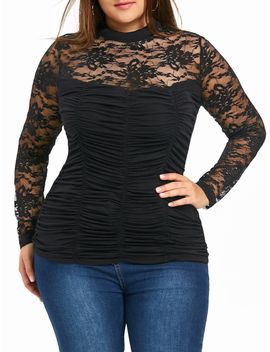 Plus Size Sheer Mock Neck Smocked Top by Dress Lily