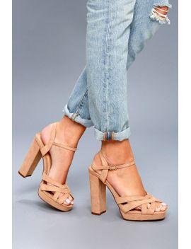 Lulus Liza Camel Suede Platform Heels - Lulus