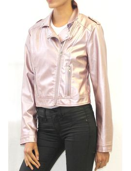 Metallic Faux Leather Moto Jacket (Rose Gold Or Silver) by Highway Jeans