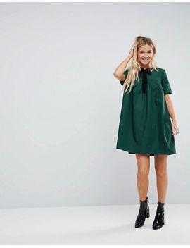 Mini Smock Dress with Eyelet Detail and Grosgrain Tie - Forest green Asos