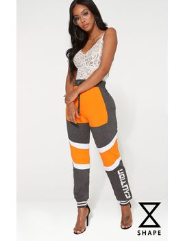 PRETTYLITTLETHING Shape Caution Contrast Joggers