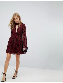 Honey Punch Swing Dress In Velvet Floral Burnout